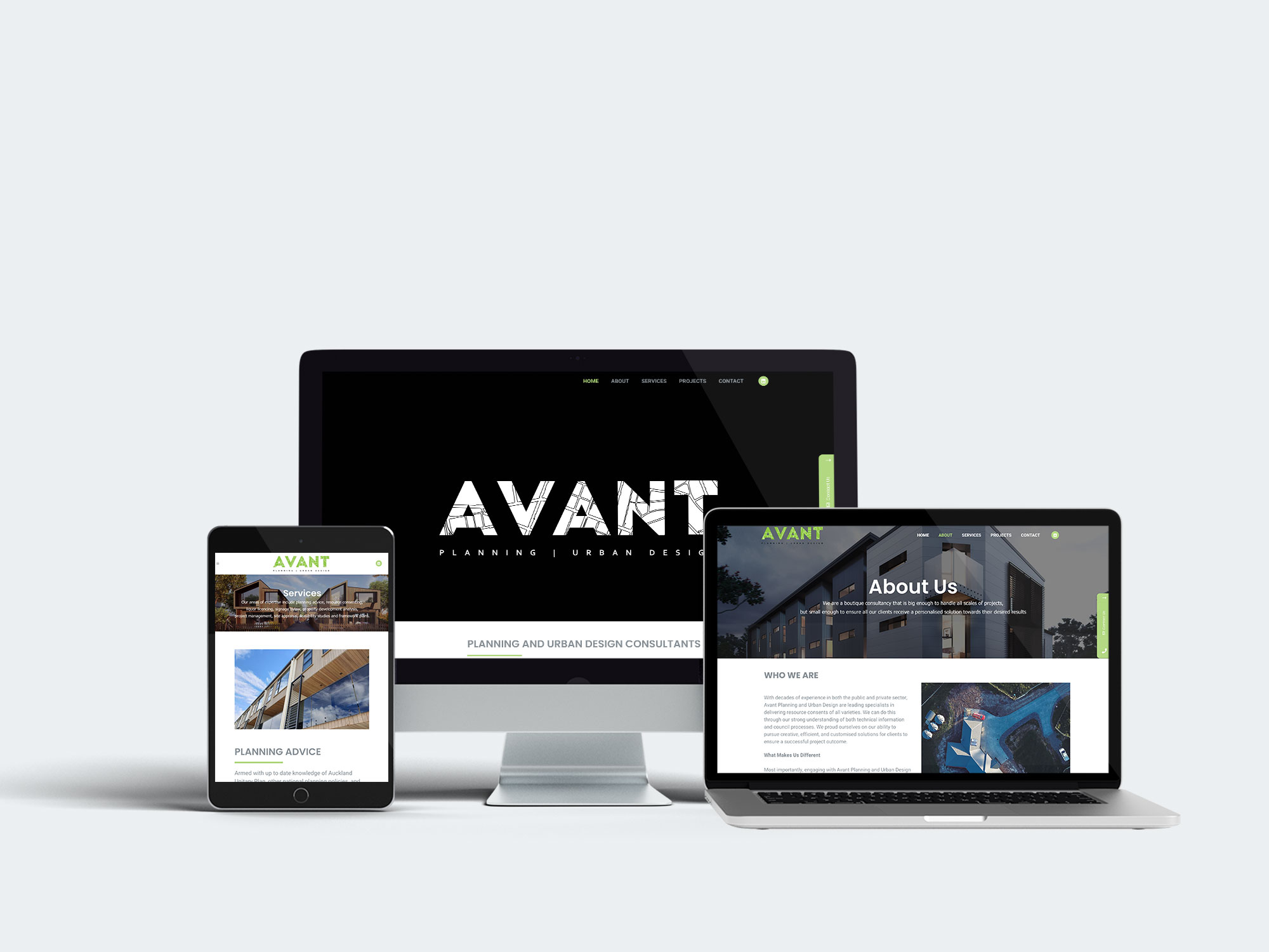 Desktop, Laptop and iPad Mockup of Avant Planning