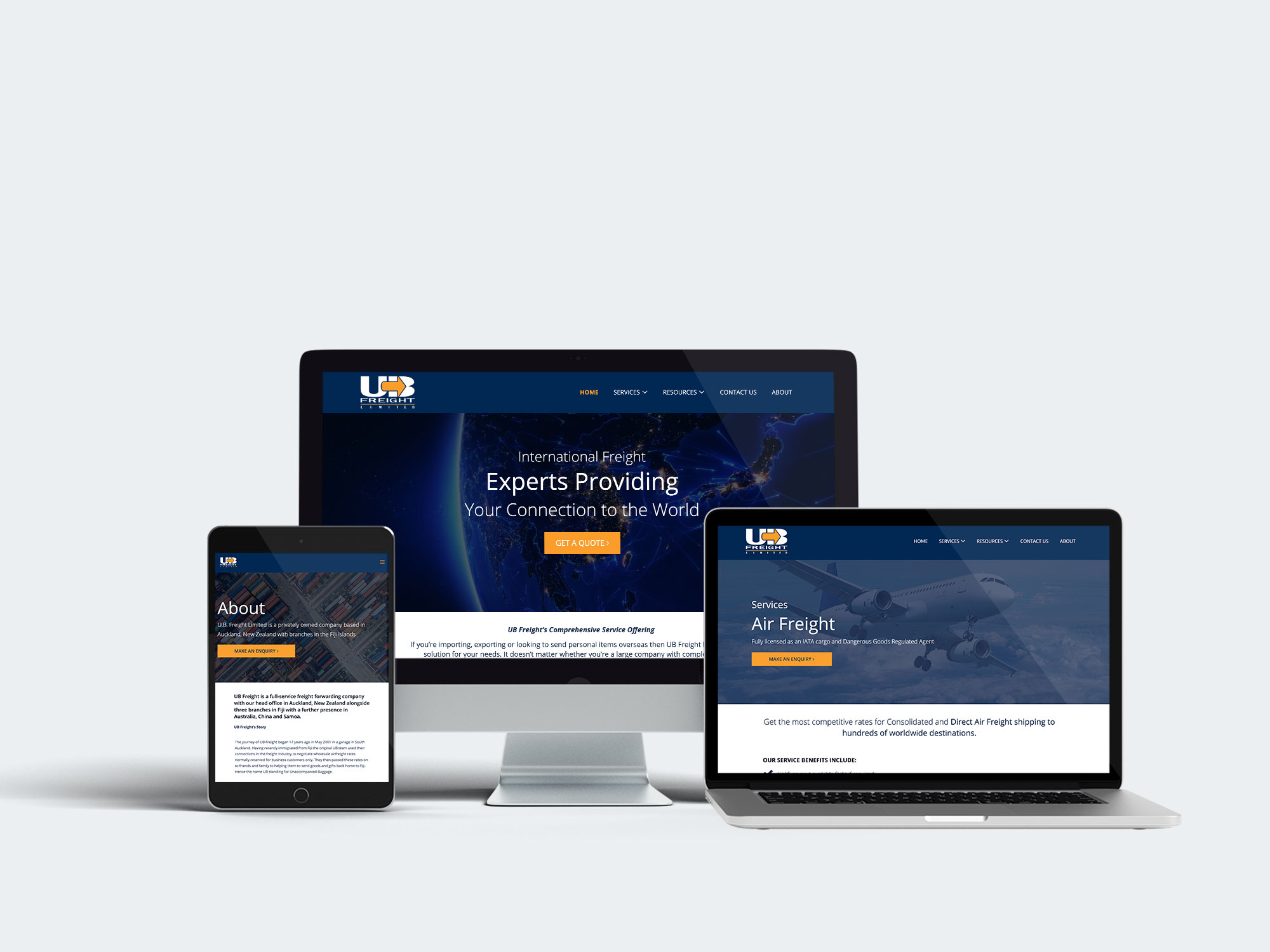 Desktop, Laptop and iPad Mockup of UB Freight